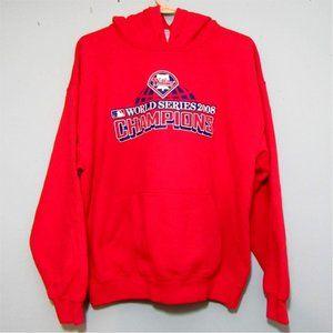 MBL Phillies 2008 Red Hooded Sweatshirt Sz L
